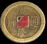 Монета Счастья с камнем